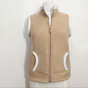 COPY - CROFT & BARROW zip front fleece faux Sherpa vest S